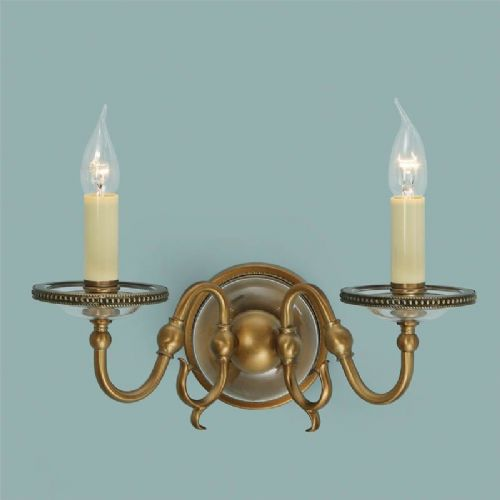 Tilburg Antique Brass Double Wall Light (Contemporary, Crystal, Modern Classic, Wall Lamp) CA20W2B